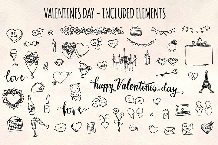 Valentines Day 56 Romantic Sketch Graphics