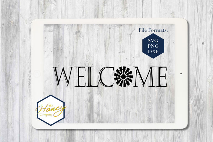 Welcome SVG PNG DXF Farm Farmhouse Windmill Sign Stencil