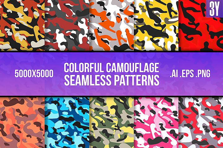 Colorful Camouflage Seamless Pattern