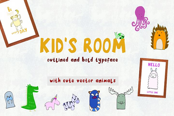 Kids Room typeface with Outline and Solid versions and extr
