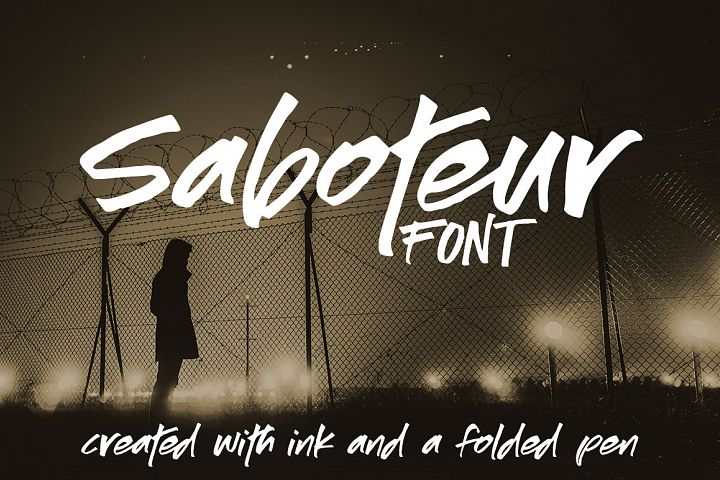 Saboteur - a moody, inky font