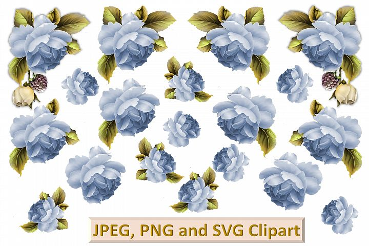 Blue Roses Clipart and printable kit PNG, SVG, JPEG CU