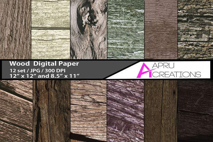Wood digital papers and patterns