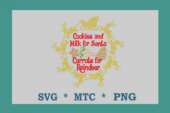 SVG Cookies 4 Santa Carrots 4 Reindeer #01 w/Sleigh Circle