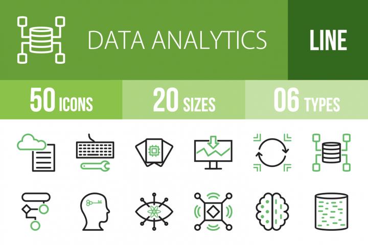 50 Data Analytics Line Green & Black Icons