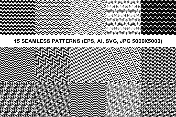 15 seamless wave line patterns (EPS, AI, SVG, JPG 5000x5000)
