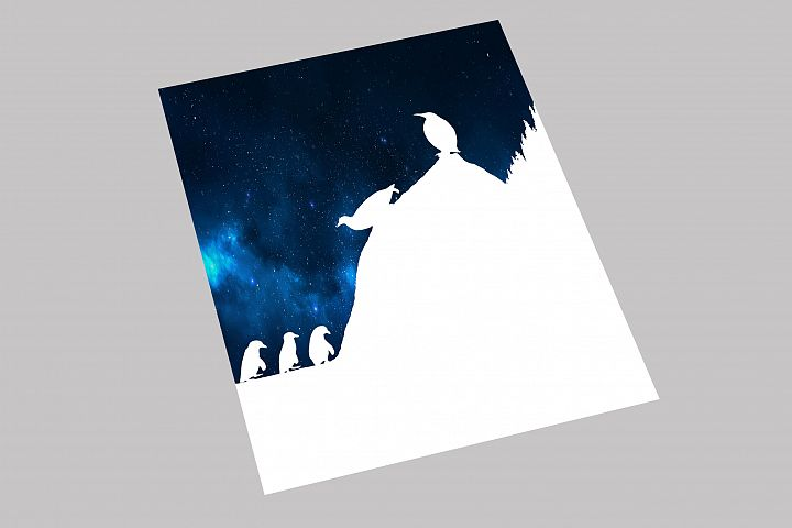 Penguin Papercut Template