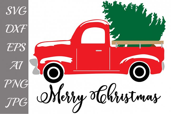 Red Christmas Truck Svg
