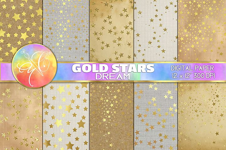 Gold Stars Dream Digital Paper, Digital Background