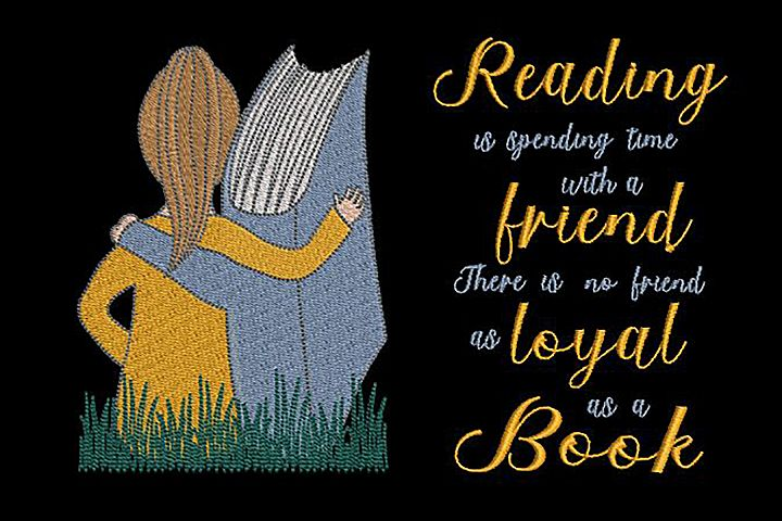Reading pillow design and Quote, Girl and Book.