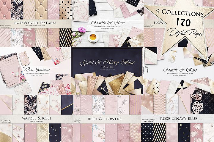 Marble, Rose, Gold & Navy Textures 9 Collections 170 Digital