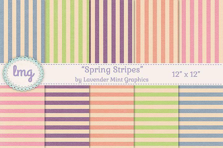Spring Stripes Digital Scrapbook Paper-Pink, Orange, Purple