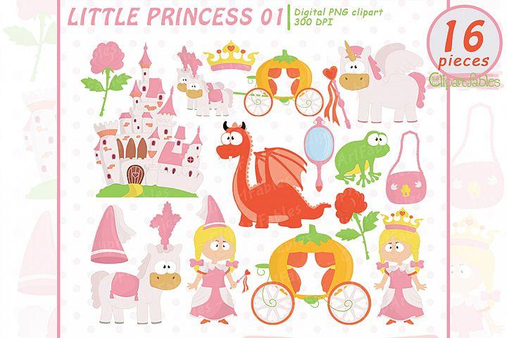 Little PRINCESS clip art, Pink Fairy tale clipart - INSTANT
