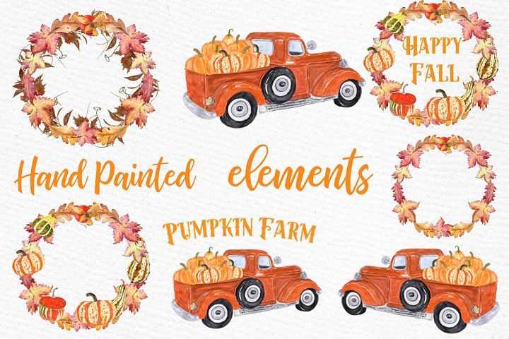 Pumpkin Farm Clipart, TRUCK WITH PUMPKINS,Thanksgiving Quote