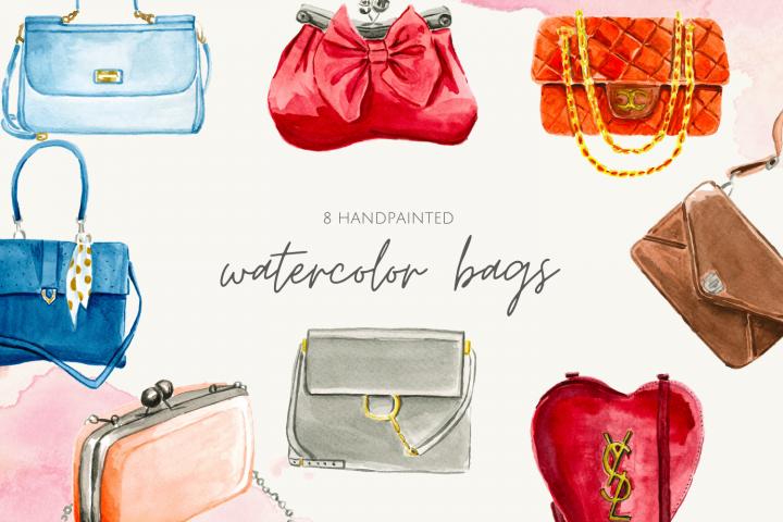 Watercolor Woman Bags, Bags Watercolor, Fashion illustration