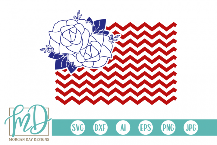 4th of July - Patriotic - Floral American Flag SVG