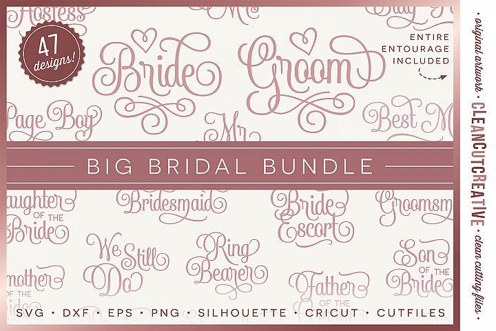 Big Bridal Bundle - Wedding Party 47 ENTOURAGE words cutfile