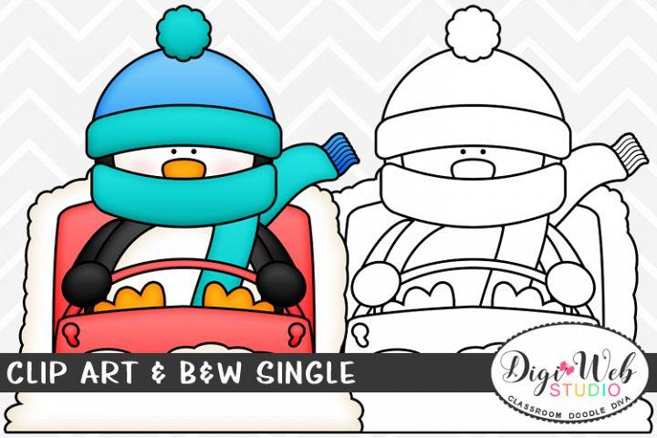 Clip Art & B&W Single - Winter Penguin Downhill Sledding