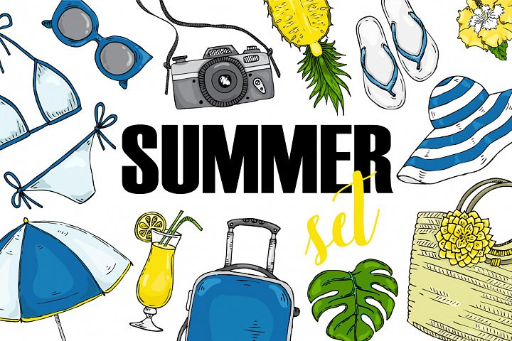 Vector summer set items for vacation.