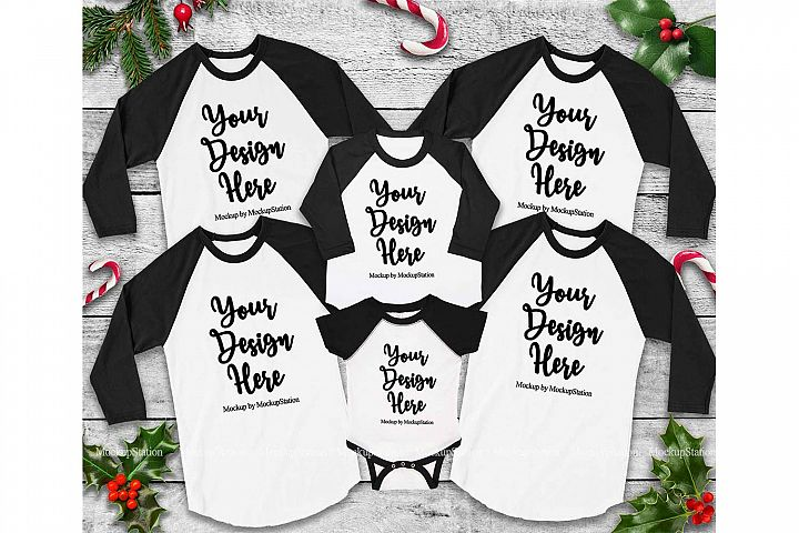Matching Family Christmas Black Raglans Mockup, Adult Baby