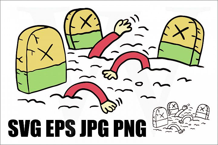 Zombies rising from tomb - SVG EPS JPG PNG