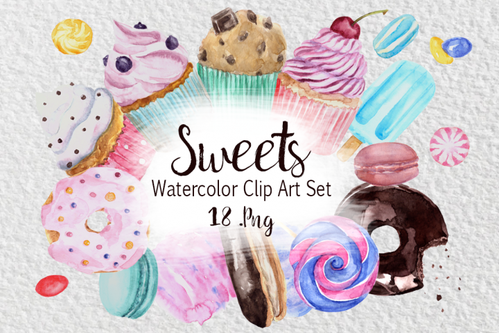 Watercolor Sweets Clip Art Set