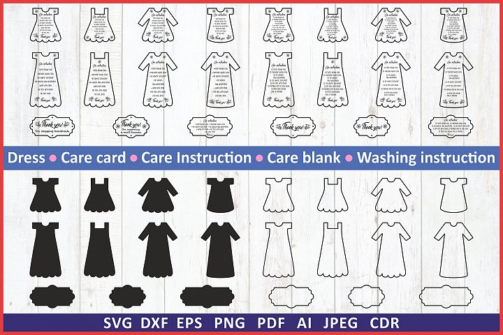 Care instruction svg. Care Card bundle svg. Dress svg set