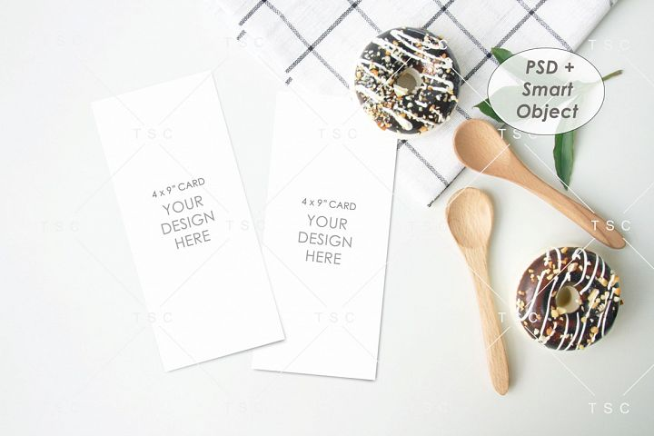 4 x 9 Card Mockup / Program Card Mockup / Menu Card Mockup