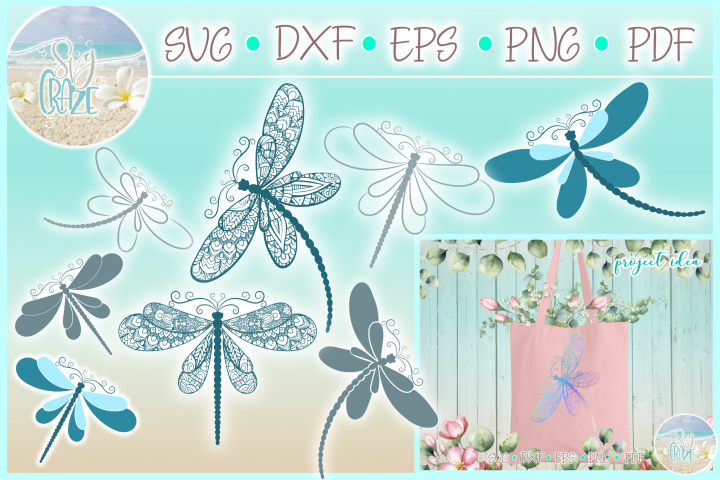 Dragonfly Mandala Zentangle Bundle Svg Dxf Eps Png Pdf Files - Free Design of The Week