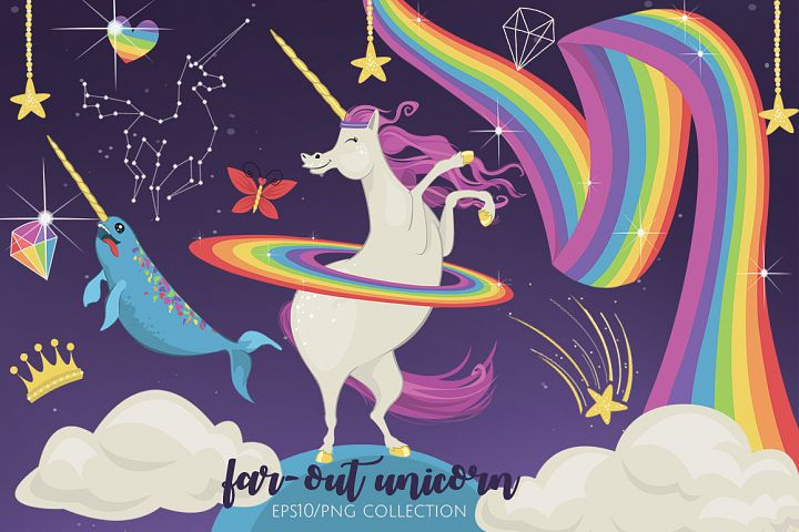 Far Out Unicorn Graphic Elements
