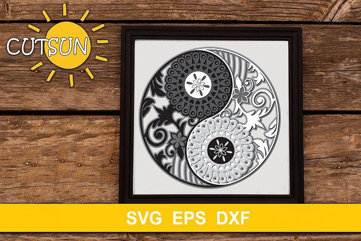 3D Layered Mandala Yin Yang cut file