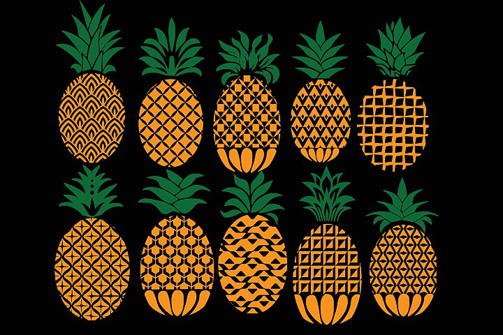 Pineapple svg, pineapple monogram svg, ananas monogram svg