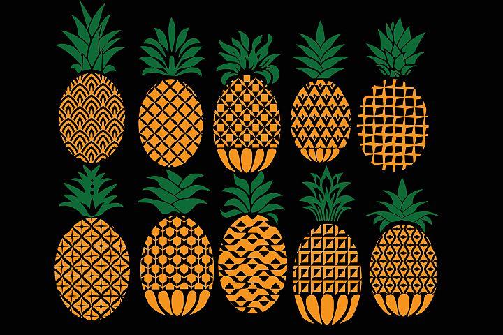 Pineapple svg, pineapple monogram svg, ananas monogram svg