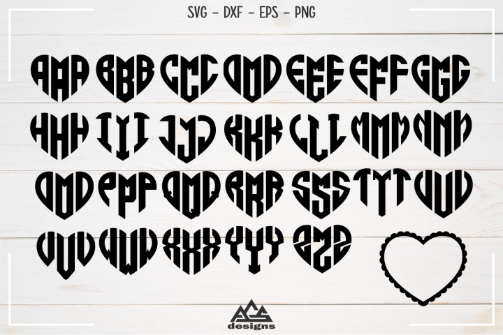 Love Heart Alphabet Monogram Svg Design
