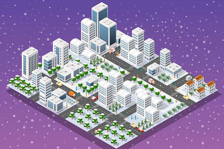 New Year is an isometric city