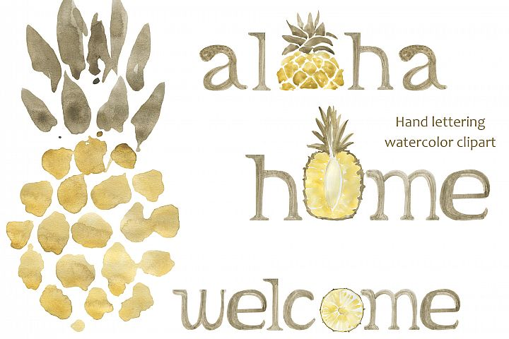 Hand lettering with to pineapple