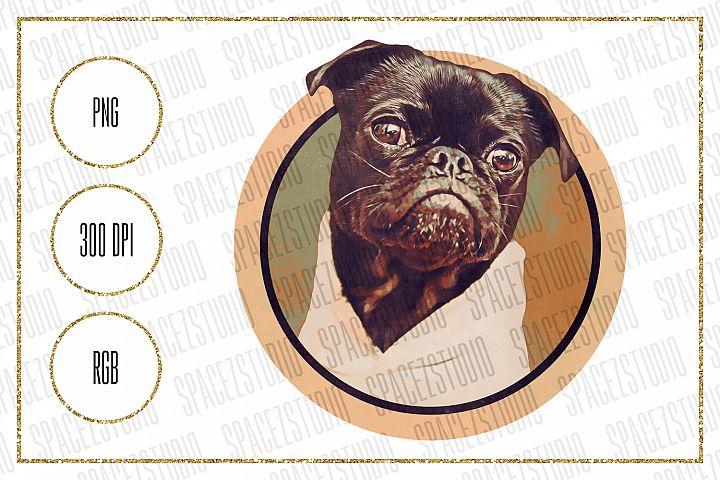 Pug Design For Sublimation - Vintage Style Dog Design