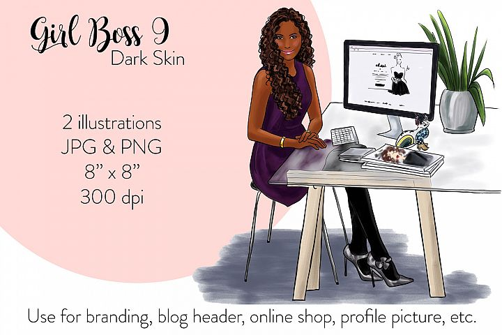 Fashion illustration - Girl boss 9 - Dark Skin