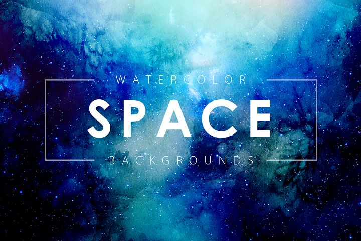 Space Watercolor Backgrounds - Free Design of The Week Font
