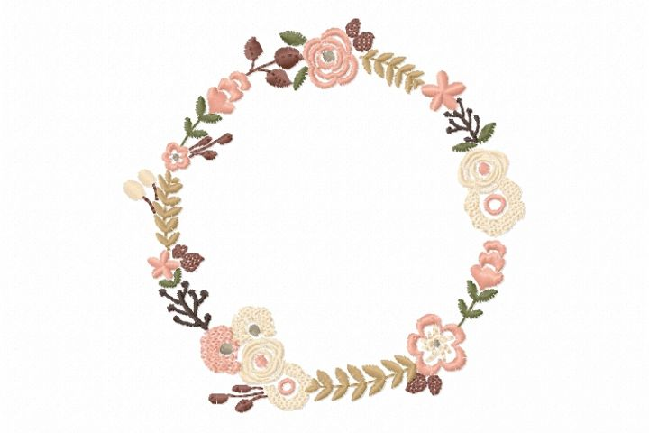 Floral Wreath Font Frame Monogram Design - EMBROIDERY DESIGN FILE - Instant download - Vp3 Hus Dst Exp Jef Pes formats hoop 4x4 5x7 6x10