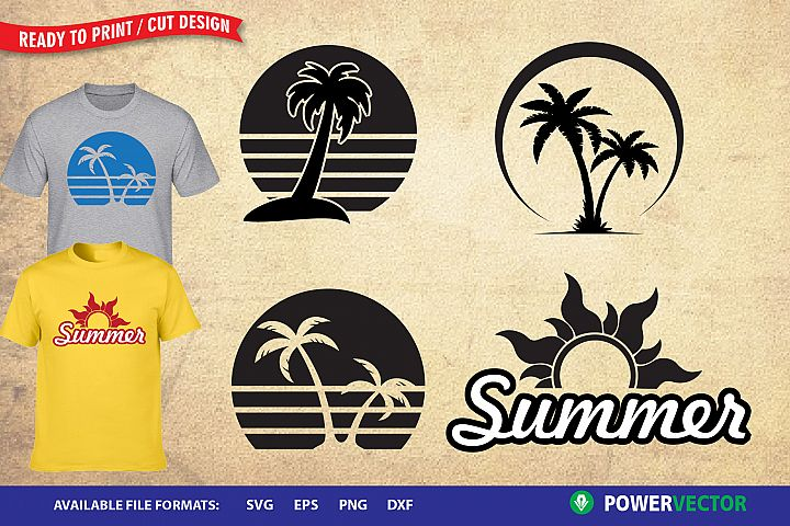 Summer Designs - Svg, Dxf, Eps, Png Crafting Files
