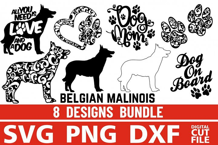 8x Belgian Malinois Bundle svg ,Dog Shapes svg, Silhouettes
