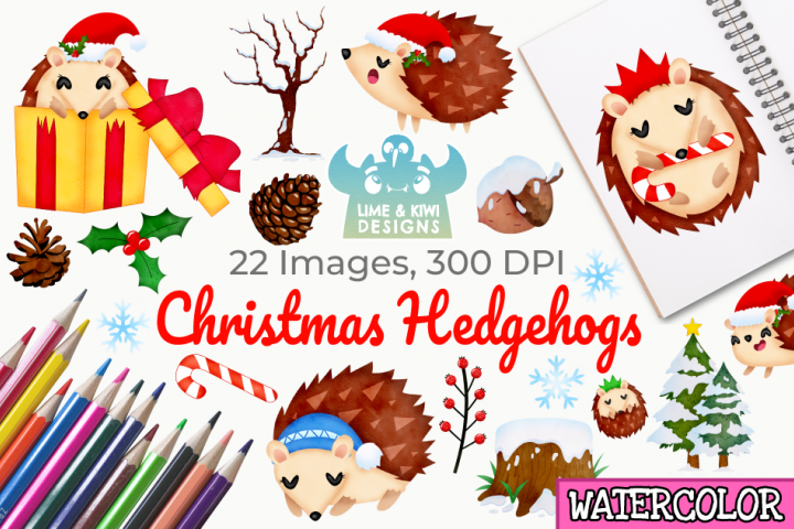 Christmas Hedgehogs Watercolor Clipart, Instant Download