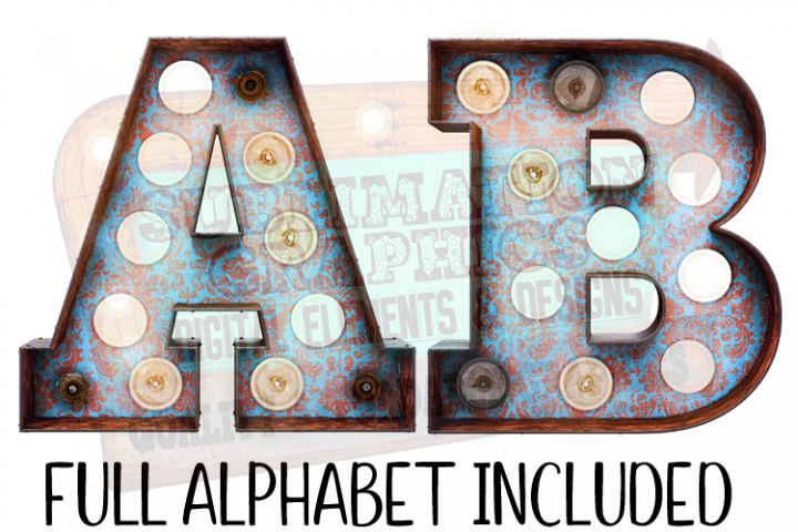 Blue and Red Demask Marquee Alphabet