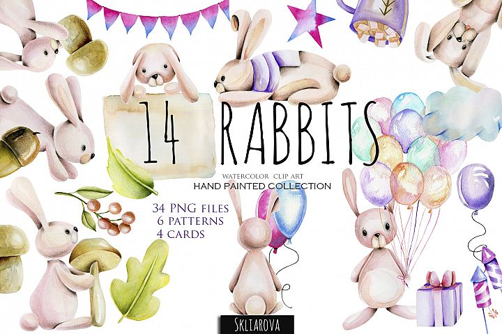 14 Rabbits.Watercolor clip art.