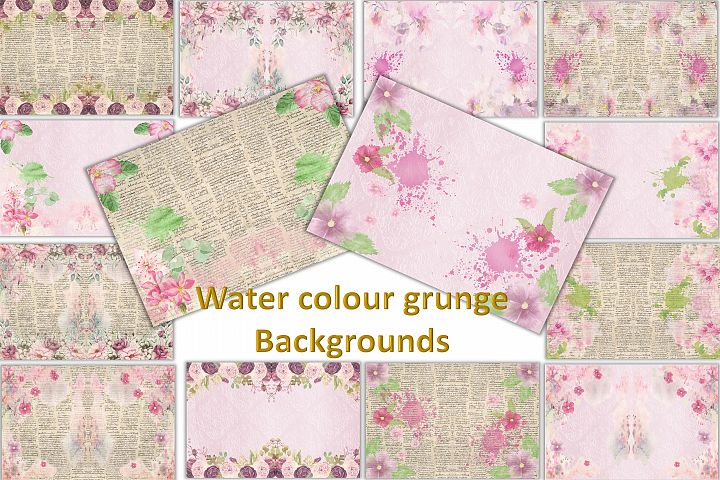 Watercolour Florals Journal Backgrounds 28 pages