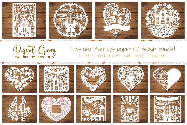 Love and Marriage paper cut Bundle. SVG / DXF / EPS / PNG