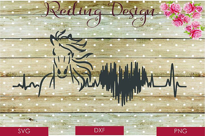 Horse Heartbeat SVG DXF PNG Digital Cut Files