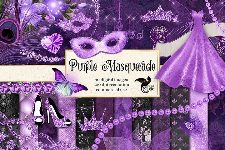 Purple Masquerade Digital Scrapbooking Kit