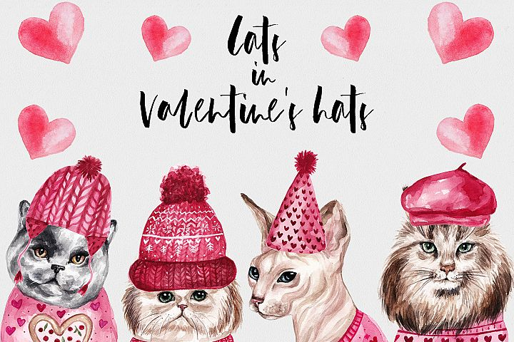 Watercolor Cats In Valentines Hats